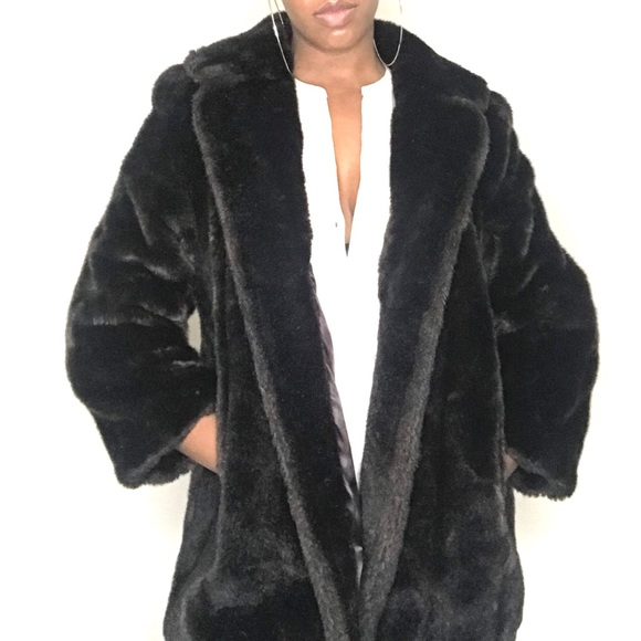 Vintage Jackets & Blazers - Luscious Vintage Faux Fur Wide Lapel Coat